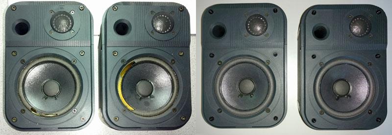 JBL Pro III Nahfeldmonitore: links vor der Reparatur mit defekten Schaumstoffsicken, rechts nach dem Austausch der Sicken und der Überprüfung der Lautsprecher und Frequenzweichen