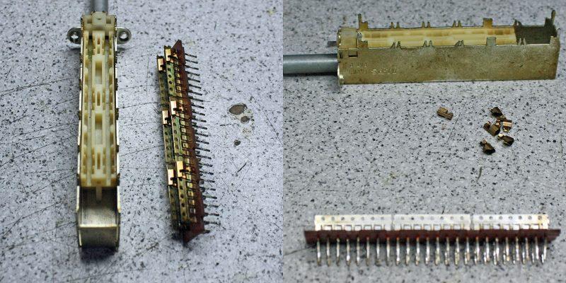 Record-Schalter aus Yamaha AX1090, vor und nach dem Reinigen der Kontakte